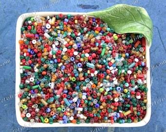 20 Grams Antique Venetian Hand Drawn Glass Seed Bead Mix, Antique Italian Glass Seed & Bugle Beads, Vintage Beading Repair Supplies VB-038