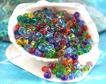 28 Grams ~ Size 6/0 Quality Czech Glass Transparent Amethyst Ruby Hyacinth Citrine Peridot Aquamarine Sapphire Seed Bead Mix SB-081