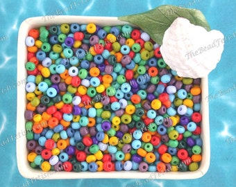 75 Grams ~ Size 6/0 Quality Czech Glass Classic Opaque Red Orange Yellow Lime Olive Green Periwinkle Blue Purple Seed Beads  SB-080-75