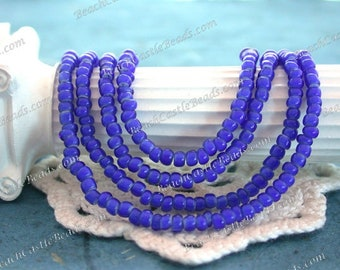 Antique White Heart Beads, Handcrafted Vintage French Cobalt Blue White Hearts, 9/0 Vintage Blue Seed Beads, Vintage Trade Beads VB-073