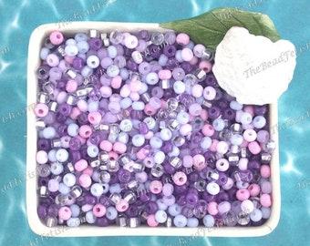 75 Grams ~ Size 6/0 Quality Czech Glass Salt Water Taffy Purple Mix Violet Lilac Bubble Gum Pink Amethyst S/L Glitter Seed Beads  SB-075-75