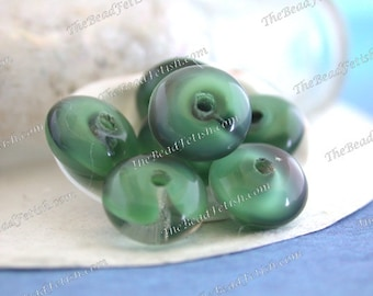 Vintage Glass Beads, Vintage West German Givre' Two-Tone Opaque Prairie Green Crystal & Black Pressed Glass Beads, Vintage Disc Beads VB-446