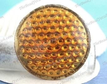 Vintage Glass Reflectors, Vintage Bohemian Topaz Pressed Glass Gold Foiled Reflectors, 39mm Vintage Topaz Glass Reflectors   VB-443