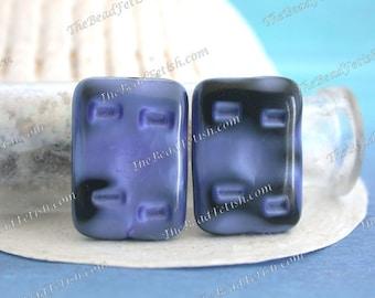 Vintage Glass Beads, Vintage Satin Blue & Black Pressed Glass Two-Toned Art Glass Flat Lozenge Beads, Blue and Black Vintage Beads VB-494