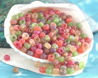 28 Grams ~ 1 Ounce, Size 6/0 Quality Czech Glass Frosted Topaz Brown Lemon Hyacinth Cherry Red Lime Green Glass E-Bead Seed Bead Mix  SB-072