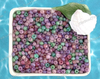 75 Grams ~ Size 6/0 Quality Czech Glass Frosted Emerald Dark Amethyst Light Amethyst Rosaline Dusty Rose E-Bead Seed Bead Mix  SB-078-75