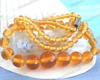 Vintage 1930's Glass Beads, Vintage Bohemian Topaz Wound-Spun Lampwork Glass Beads, Vintage Handmade Golden Topaz Glass Bead Necklace VB-473