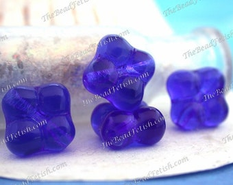 Vintage Glass Beads, Vintage Cobalt Blue Pressed Glass Beads, Cobalt Blue Vintage Beads, Vintage Cobalt Glass Beads VB-492