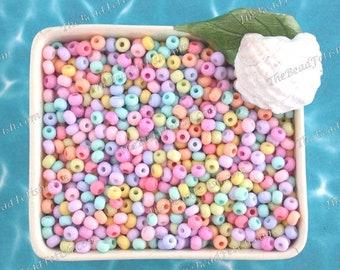 75 Grams ~ Size 6/0 Quality Czech Glass Salt Water Taffy Pastel Mix Violet Lilac Pink Coral Banana Kiwi Aqua E-Bead Seed Beads  SB-071-75