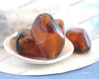 Vintage Glass Beads, Vintage West German Givre' Pressed Glass Beads, Two-toned Golden Transparent Brown Vintage Beads VB-478