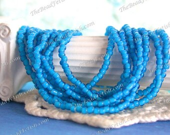 Antique White Heart Beads, Handcrafted Vintage French Aqua Blue White Hearts, 10/0 Vintage Aqua Blue Seed Beads, Vintage Trade Beads VB-013