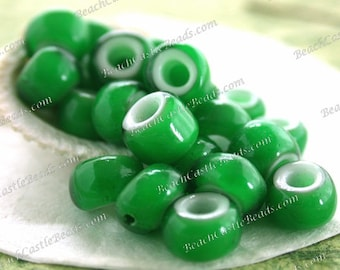 6 to 7mm Vintage White Heart Beads, Handcrafted Vintage French Green White Hearts, Vintage Green Crow Beads, Vintage Trade Beads VB-082