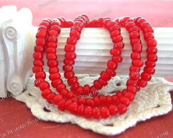 Vintage White Heart Beads, Handcrafted Vintage Venetian Cherry Red White Hearts, 6/0 Vintage Red Seed Beads, Vintage Trade Beads VB-077