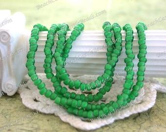 Vintage White Heart Beads, Handcrafted Vintage French Green White Hearts, 8/0 Vintage Green Seed Beads, Vintage Trade Beads VB-075