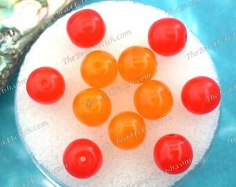11 ~ Vintage Glass Beads, Vintage 8mm Golden Sunflower Yellow Givre' & Hyacinth Orange Opal Pressed Glass Druk Beads VB-625