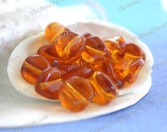 Vintage Glass Beads, Vintage Topaz Pressed Glass Pinch Beads, Golden Transparent Brown Vintage Glass Beads VB-452