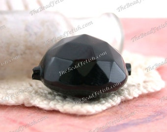 Antique French Hollow Blown Glass Beads, 22 x 15mm Jet Black Hollow Domed Faceted Glass Beads,Rare Black Victorian Glass Beads VB-274