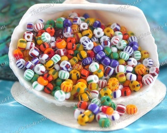 28 Grams ~ Size 6/0 Quality Bohemian Czech Glass Stripped Faux Trade Beads White Yellow Orange Red Blue Green Seed Bead Mix SB-077