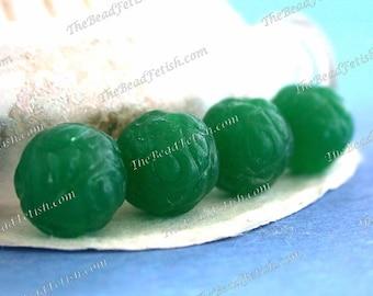 Last Lot ~ 3 Vintage West German Rose Bud Beads, Vintage Pressed Glass Jade Green Opal Flower Beads, Vintage Rose Glass Beads VB-427
