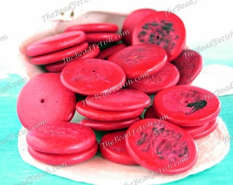 Vintage 1980's Coconut Shell Disc Beads, Coco Chip Beads, Coco Shell Beads, Bright Red Coconut Beads, Recycled Beads  VB-615