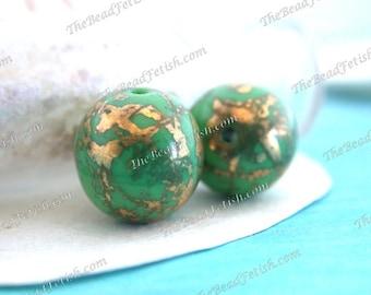 Vintage West German Green Glass Round Beads with 24kt. Gold Marbled Finish, Vintage Green & 24kt. Gold Splatter Beads VB-346