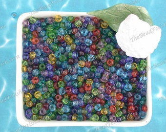 75 Grams ~ Size 6/0 Quality Czech Glass Transparent Amethyst Ruby Hyacinth Citrine Peridot Aquamarine Sapphire Seed Bead Mix  SB-081-75