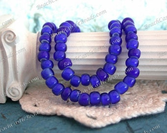 Vintage White Heart Beads, Handcrafted Vintage French Cobalt Blue White Hearts, 4/0 Vintage Blue Seed Beads, Vintage Trade Beads VB-078
