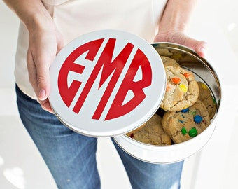 Personalized Cookie Tin, in a SCRIPT or CIRCLE monogram font