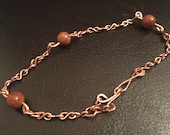 Copper and brown goldstones bracelet, handmade copper bracelet, figure eight copper bracelet, copper wire bracelet, goldstone bracelet