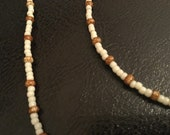 Beige and barley seed bead jewelry set, beaded jewelry, necklace and bracelet set