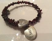 Emotional love garnet bracelet, garnet memory bracelet, garnet bracelet, garnet love bracelet, garnet charm bracelet