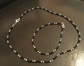 Black and white beaded set, beaded bracelet and necklace, black and white beaded choker and bracelet/anklet