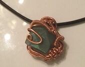 Labradorite and copper pendant, wirewrapped labradorite, copper and labradorite pendant, copper wire pendant, wire wrapped pendant