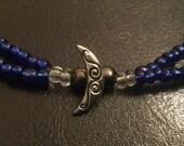 Blue moon choker, moon necklace, deep blue beaded choker, blue choker, beaded necklace