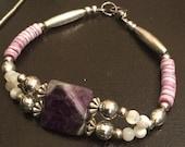 Amethyst bracelet, purple...