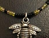 Bumblebee necklace, beaded bumblebee necklace, bee choker, bumblebee charmed choker. Bumblebee choker, unisex jewelry