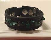 Malachite on black leather, malachite and leather bracelet, green and black leather cuff, malachite cuff, malachite and leather cuff