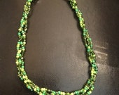 Green apple necklace, hues of green choker, beaded necklace, beaded choker, green braided choker