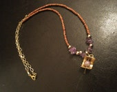 Sandalwood and amethyst pendant necklace, one of a kind amethyst necklace with brass pendant, sandalwood necklace, amethyst and brass