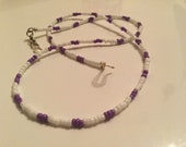 Purple and white beaded necklace, unisex necklace, purple and white necklace, beaded necklace, unisex choker, beaded choker