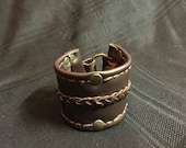 Dark brown, wide leather cuff, handmade leather cuff, men's leather, leather cuff, unisex bracelet, women's leather,
