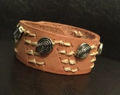 Beaded leather bracelet, leather cuff  with metal beads, wide cuff, handmade leather bracelet