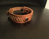 Tooled leather bracelet, cross stitched bracelet, stitched leather bracelet