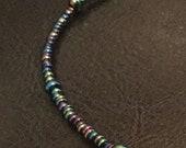 Unisex black rainbow necklace, men's beaded necklace, women's beaded necklace, handmade beaded jewelry, rainbow jewelry, rainbow necklace