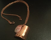 Calico copper necklace, copper seashell necklace, abstract copper necklace with scallop shell