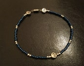 Blue celestial, men's beaded bracelet, blue beaded bracelet, sun and moon bracelet, woman's anklet