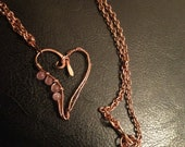 Pink and copper heart necklace, heart necklace, copper heart necklace, wire wrapped heart necklace
