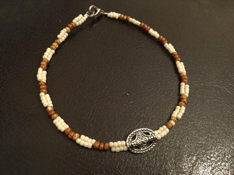 Barley ivory and cream beaded bracelet  unisex beaded image 0