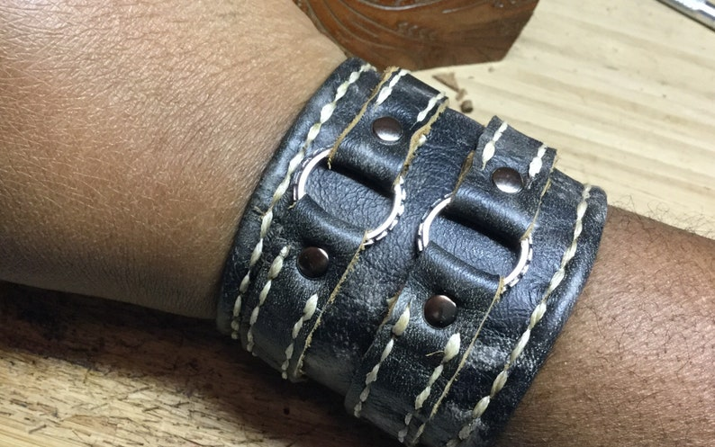Distressed black dyed cuff handmade leather bracelet mens image 0