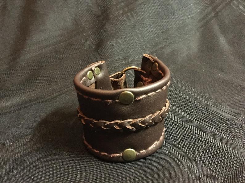 Dark brown wide leather cuff handmade leather cuff mens image 0